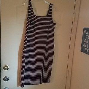 Stripe dress with back zipper and split